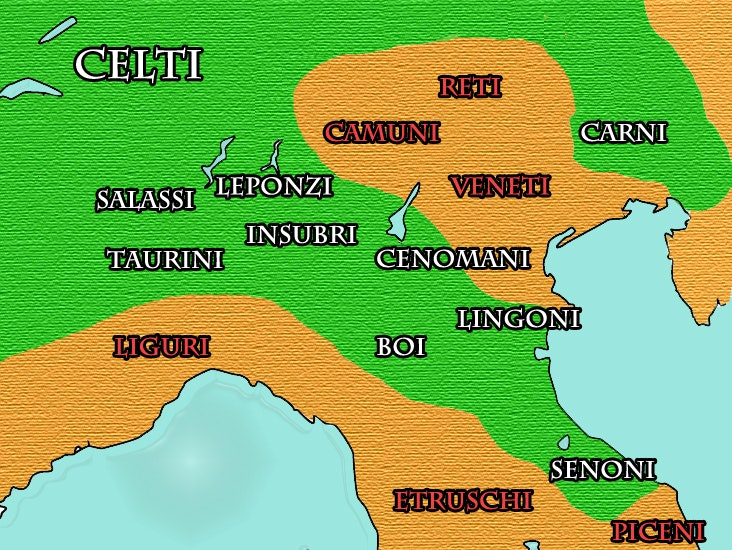 A map of northern Italy in Celtic times.